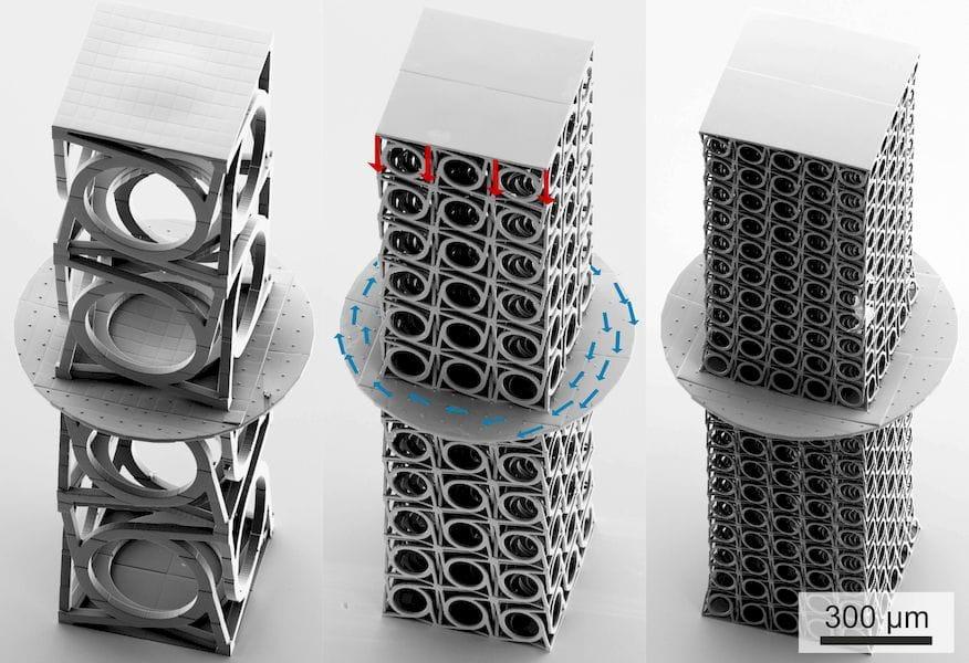 Microscopic 3D printed metamaterials