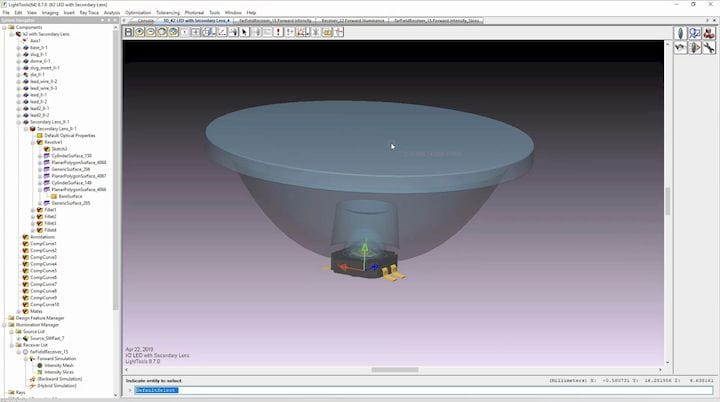 Setting up a simulation in LightTools: here, in the Land of Make Believe, we have a virtual lens sitting on top of a pretend LED. [Source: SolidSmack]