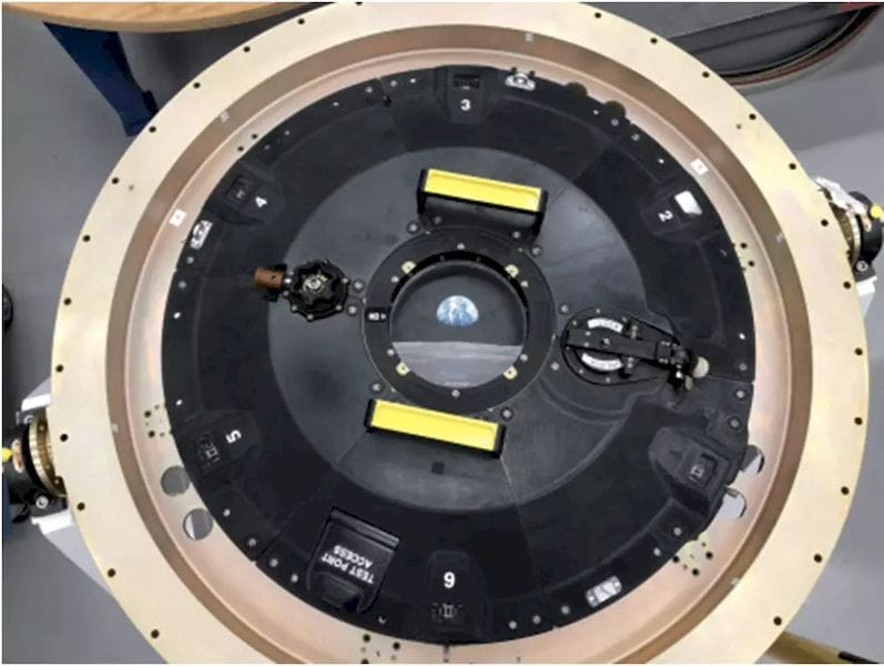 The Orion spacecraft leverages a variant of new Stratasys Antero 800NA to build an intricately connected 3D-printed docking hatch door. (Image courtesy of Business Wire.)