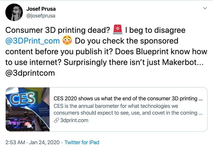 Josef Prusa believes consumer 3D printing is alive and well [Source: Twitter]