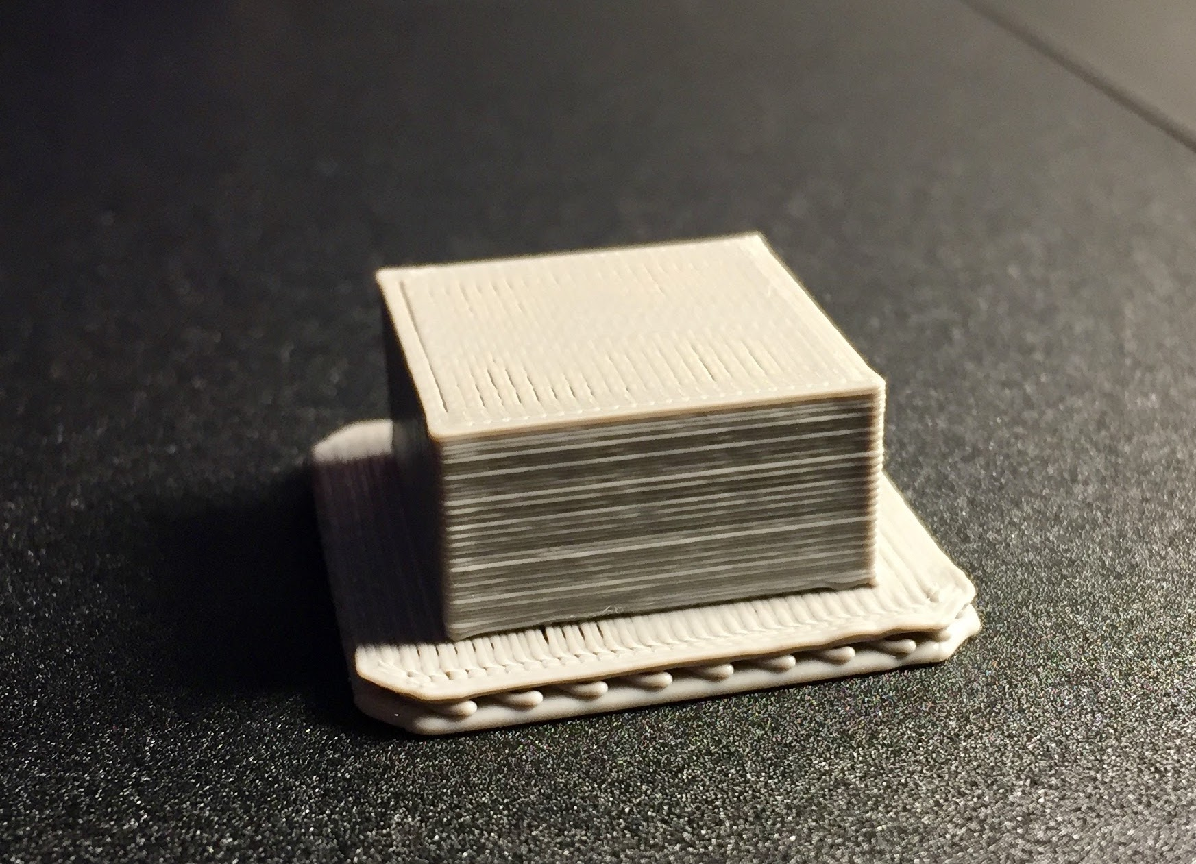 A sample 3D print with a beefy raft