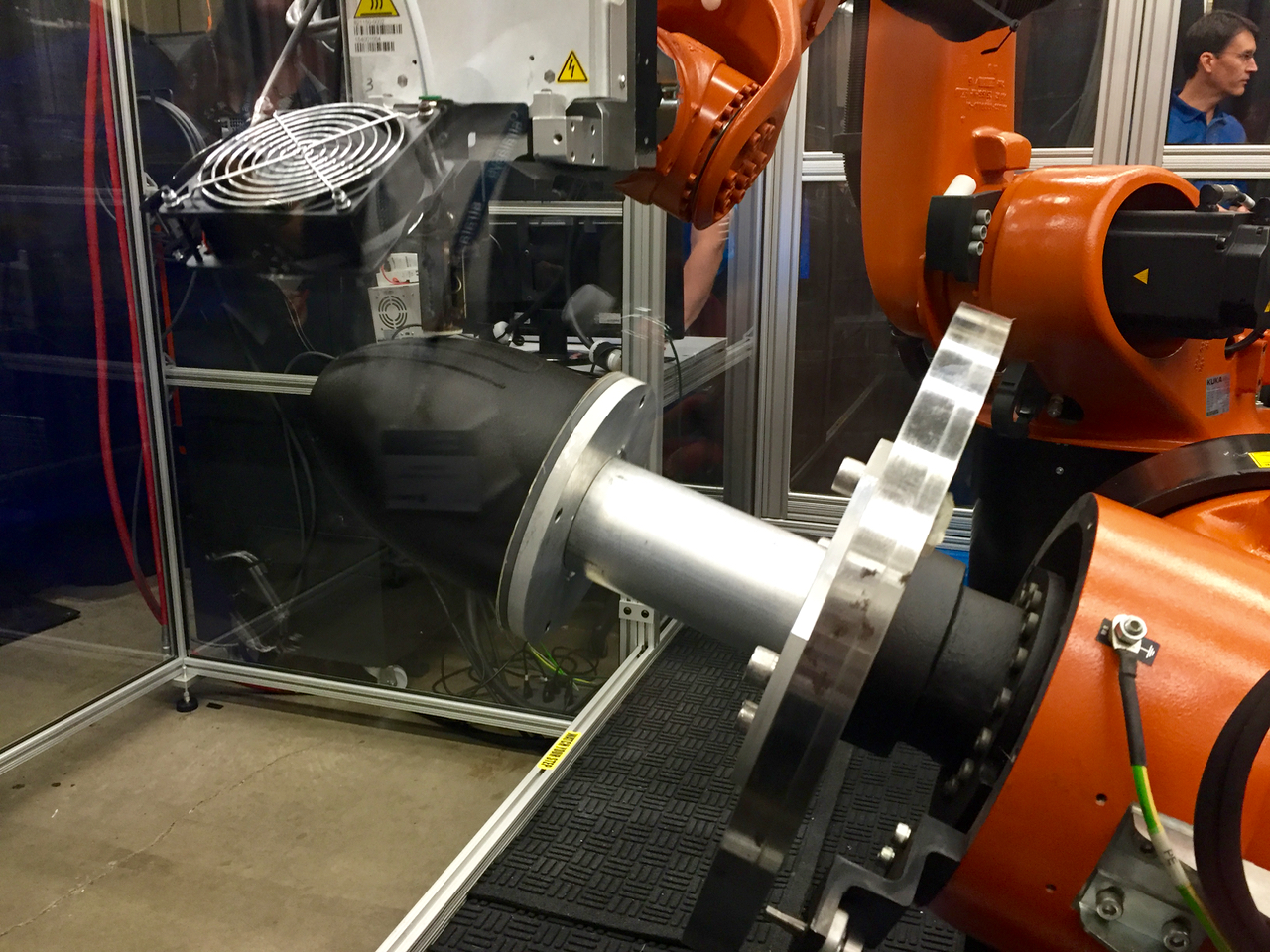 The Stratasys Robotic Composite 3D Demonstrator extruding in unusual directions