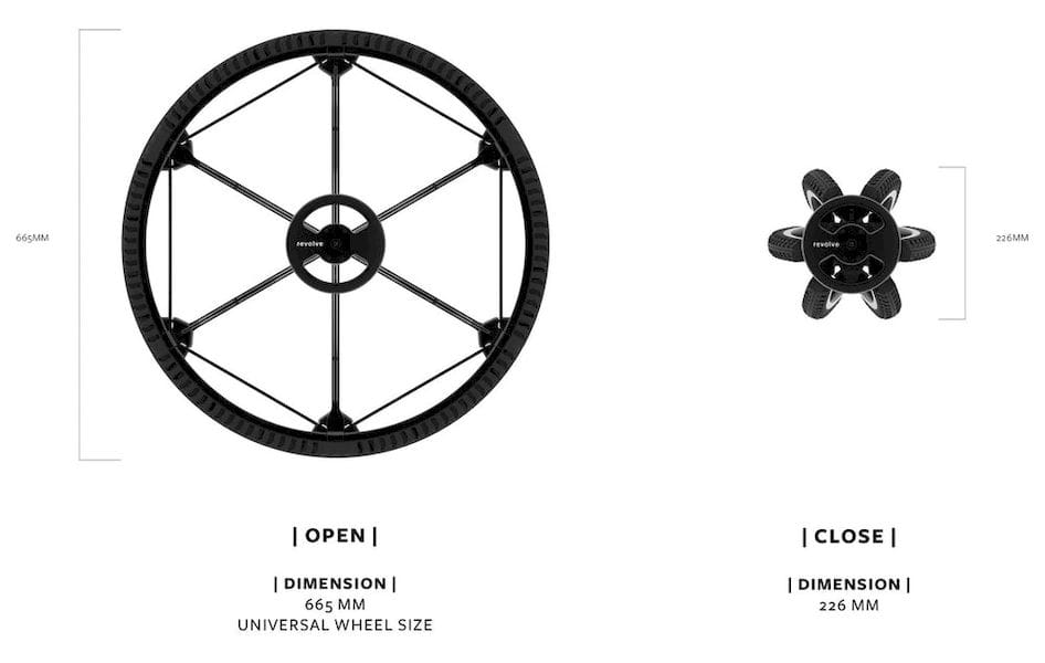 The Revolve collapsible wheel design