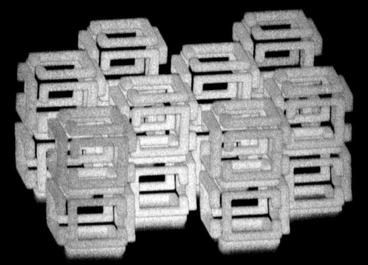 "A microscopic 3D print using a new process called ""ImpFab"" [Source:  Science ]"