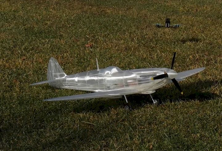 A 3D printed Supermarine Spitfire MKIX on the ground [Source: Flite Test]