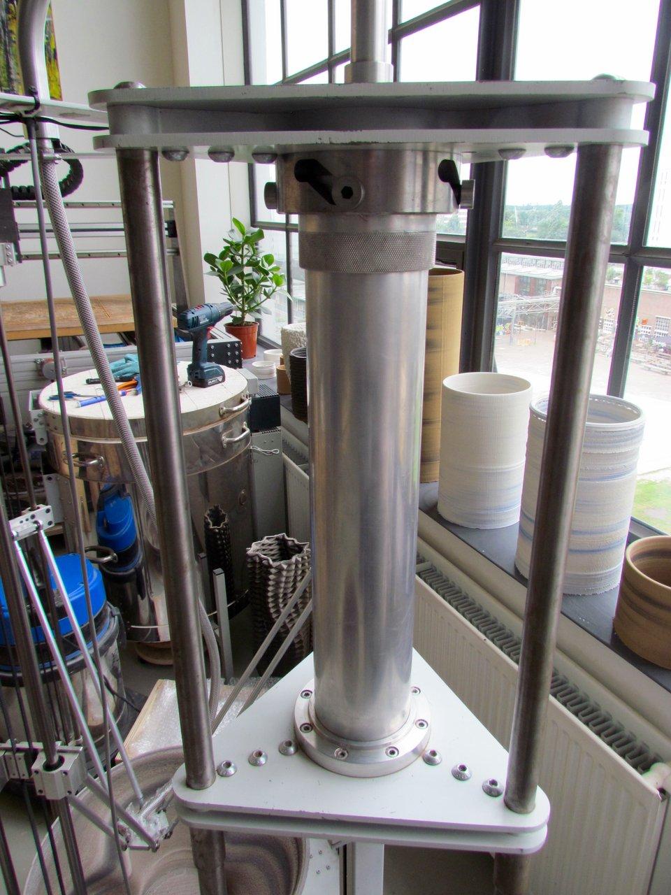 The powerful piston used to drive ceramics in Olivier van Herpt's ceramic 3D printer