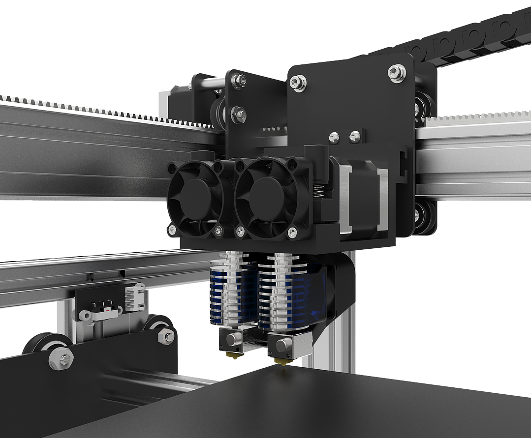 A design view of the Versa3D's motion system and 3D print extruders