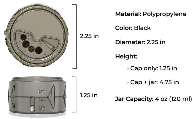 Unique Spice Jar Cap Design to Measure Your Spices
