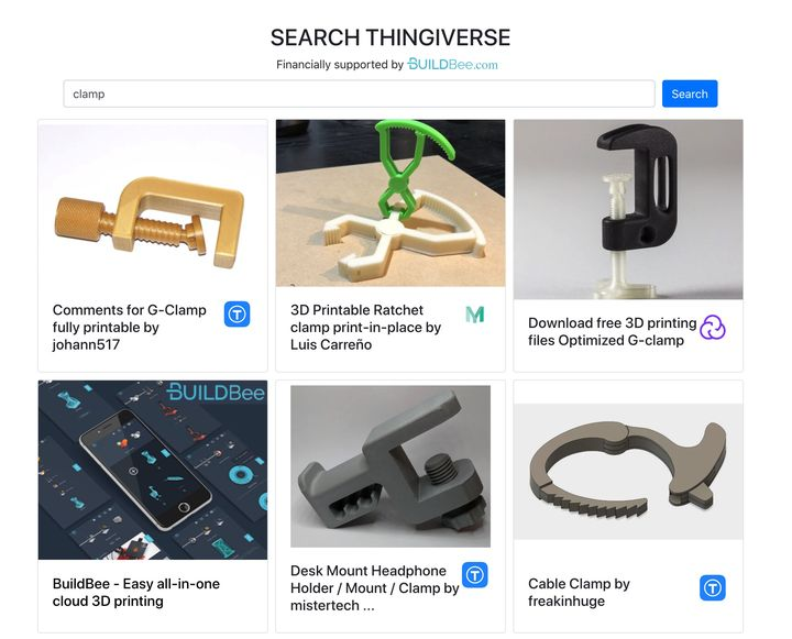 Search Thingiverse: An Alternative Search For Thingiverse?