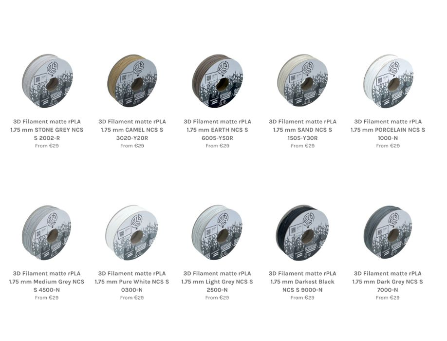 NCS Color-Indexed Recycled PLA Filament Available